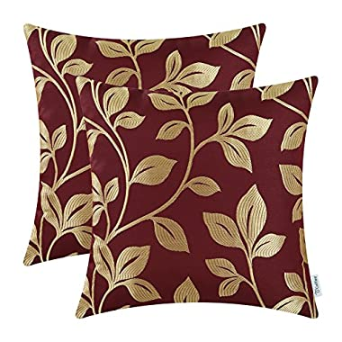 CaliTime Pack of 2 Soft Throw Pillow Covers Cases for Couch Sofa Home Decoration Cute Growing Leaves 18 X 18 inches Burgundy/Gold