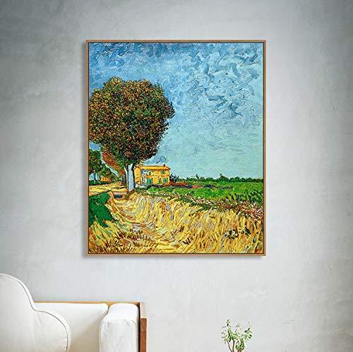 YIYEBAOFU DIY olgemalde auf leinwand handgemaltDer Wohnzimmerspiegel in der Nähe der Straße von Arles Abdruckmalerei gedruckt Wandbild40x45cm(Kein Rahmen)