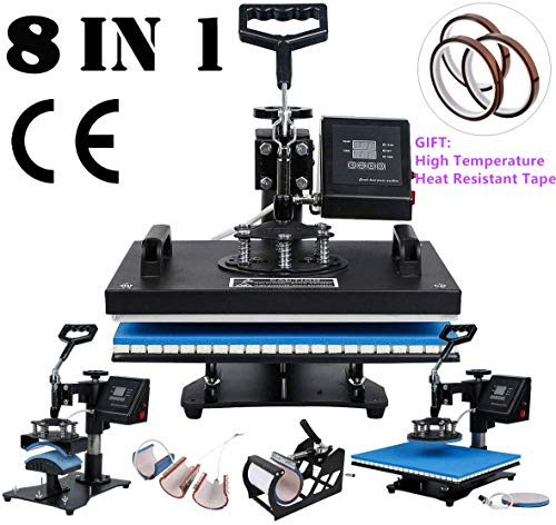 TC-Home Heat Press 8 in 1 Multifunction Sublimation Heat Press Machine Digital Transfer Sublimation T-Shirt Mug Hat Plate Cap (Heat Press Machine, 8 in 1)