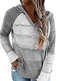 Hikaro - Sudadera de punto para mujer con capucha, de manga larga, para invierno, estilo patchwork, estilo informal, con capucha, tallas S-XXL A-cielo gris S