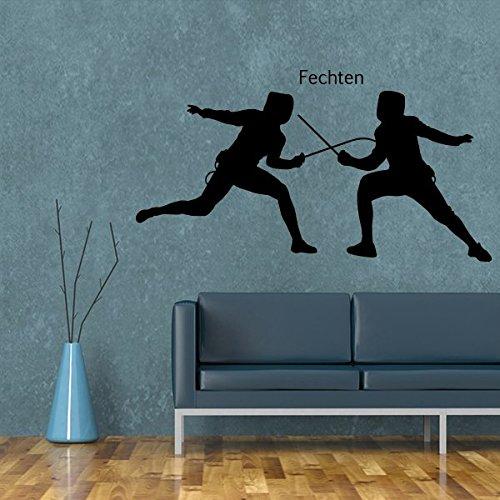 denoda® Fechten - Wandtattoo Fliederfarben 47 x 25 cm (Wandsticker Wanddekoration Wohndeko Wohnzimmer Kinderzimmer Schlafzimmer Wand Aufkleber)