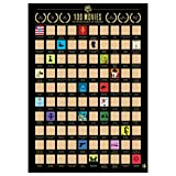 100 Movies Scratch Off Poster - Top Movie Bucket List Poster with Scratching Tool