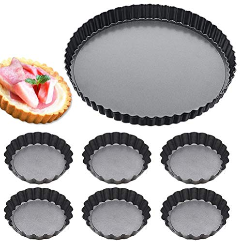 9 Inch and 4 Inch Tart Pan Quiche Pan with Removable Bottom, Set of 7, Non-Stick Pie Tart Pan Round Shape Cake Molds Carbon Steel for Kitchen Cooking Baking