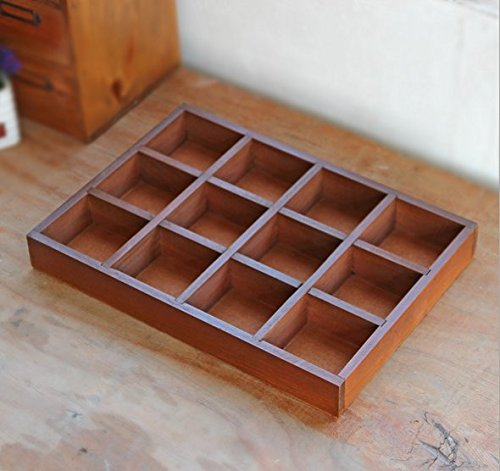 Multi-Functional 12-Grid Vintage Wooden Storage Divider Box Drawer Desk Organizer Tray for Crafts,Flowers, Plants, Jewelry, Supplies from Astra Gourmet