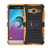 Coque Galaxy J3 (2016), Fetrim Armor Support Protection Étui,Anti Chocs Bumper Étui Hybride Protection Housse Cover pour Samsung Galaxy J3 (2016) (Orange)