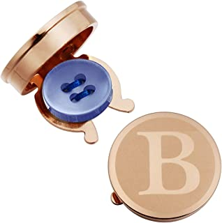 Rose Gold Letter Button Cover Cufflinks for Men Initial and Impressing Alphabet A-Z - Best Choice for Weddling Gift