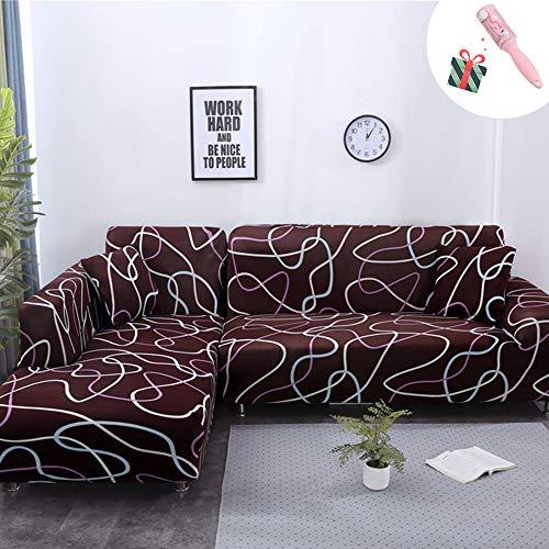 Elastisch Sofa Überwürfe Sofabezug, Morbuy Geometrie Ecksofa L Form Stretch Antirutsch ArmlehnenSofahusseSofa Abdeckung Hussen für Sofa Couchbezug Sesselbezug (2 Sitzer,Brown)