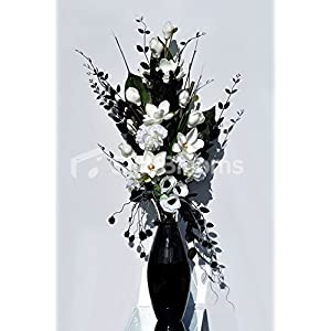 Monochromatic White Anemones Magnolia Black Foliage Vase Display