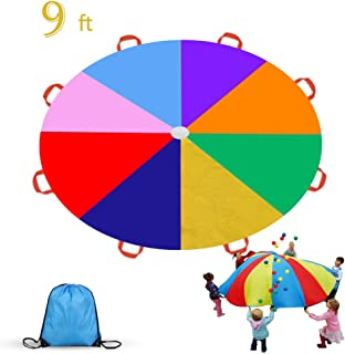 Gimilife 9ft Parachute for Kids, Play Parachute 8 Handles,Multicolored Parachute Toy Indoor,Outdoor Kids Parachute Cooperative Games for Girl Boy Toddlers Birthday Gift(L)