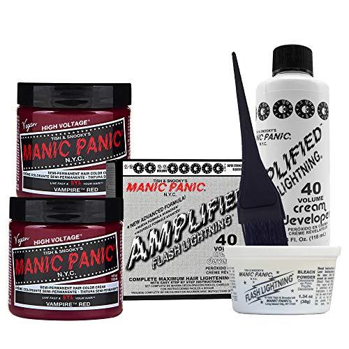 Manic Panic Vampire Red Hair Dye (2PK) Bundle with Flash Lightning Hair Bleach 40 Volume Cream Developer Kit