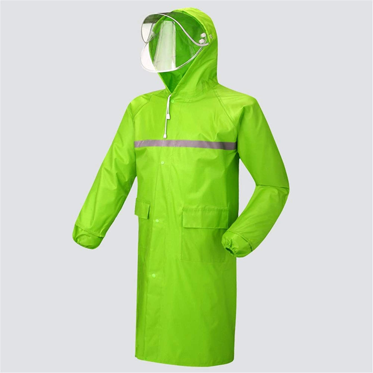 LJGG Raincoat Long Section Raincoat Waterproof Male Female Adult Hiking Breathable Poncho (color   Green, Size   XXL)