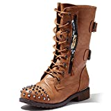DailyShoes Women's Ankle Boots Combat Bootie Low Heel Lace Up Zip Pocket Studs Buckled Spiked Punk Waterproof Martin Shoes Exclusive Credit Card Studded Timber-99 Tan Pu 7