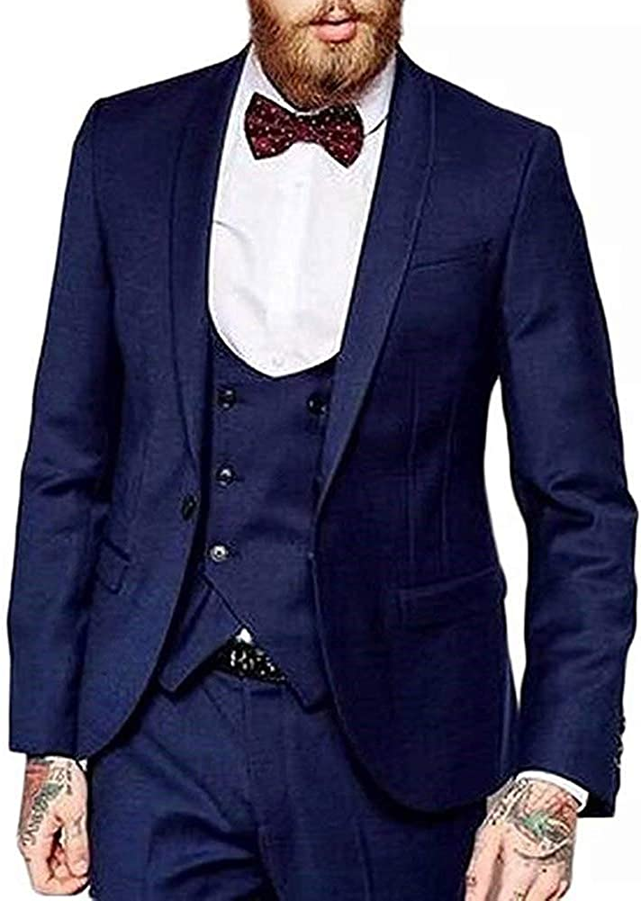 RONGKIM Men's 3 Pieces Slim Fit Formal Business Suit One Button Wedding Prom Groom Tuxedos (Navy,46)