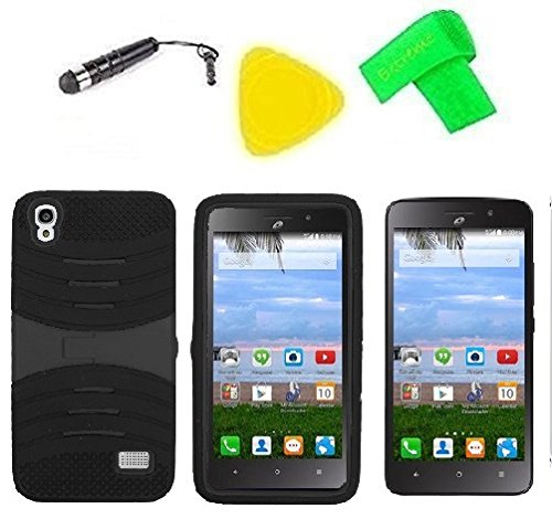 Heavy Duty Hybrid Phone Cover Case + Screen Protector + Extreme Band + Stylus Pen + Pry Tool For Straight Talk Tracfone NET10 Huawei Pronto LTE H891L / Ascend SnapTo G620-A2 LTE (S-Hybrid Black Black)