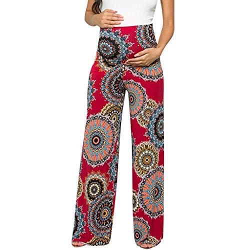 Harpily Pantaloni Premaman Donna Larghi Pantaloni Gravidanza Donna Incinta Confortevole Floreale Pantaloni Facili Yoga da Donna Moda Pantaloni Sportivi (M, Rosso)