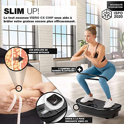 Nouveauté 2020! Plaque vibrante VP250 au design élancé| brûleur de graisse, développement musculaire| moteur silencieux avec 180 niveaux| 7+1 entraînement, option yoga| haut-parleur Bluetooth