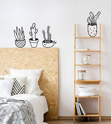 Set van 2 Decoratieve Muurstickers | Decoratieve Stickers Natuur, Botanisch, Planten, Cactus | Bloempotten