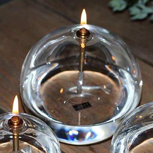 Peri Glass - 1246 Lampe à Huile Ronde en Verre GM 13cm Support Mèche Acier Laitonné