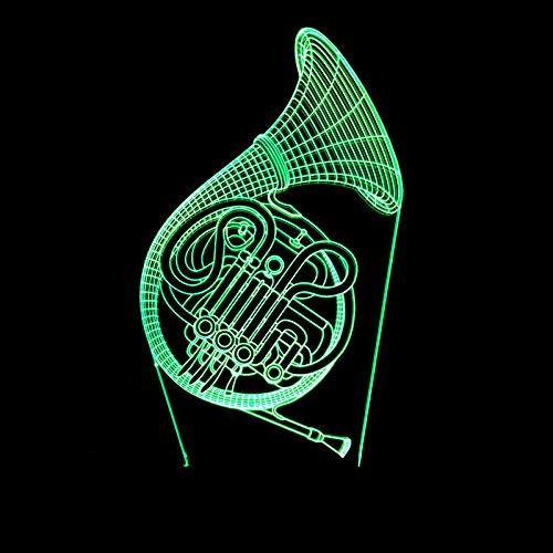Led-nachtlampje, 3D-illusie, 7 kleuren, windinstrument, muziekinstrument, hoorn, saxofon, touchscreen, stereo-schakelaar, kleine tafellamp, cadeau voor kinderen