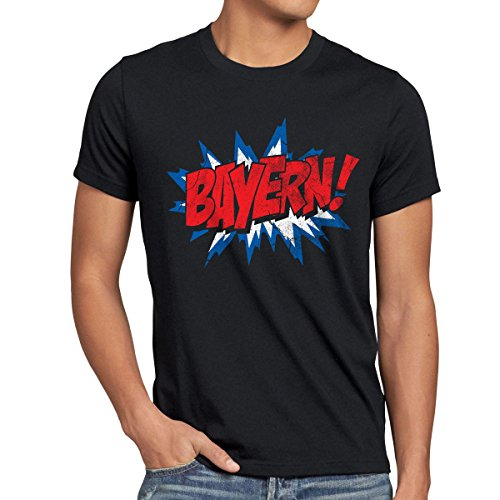 style3 Bayern! Fan T-Shirt Herren München Fußball Oktoberfest, Farbe:Schwarz, Größe:4XL