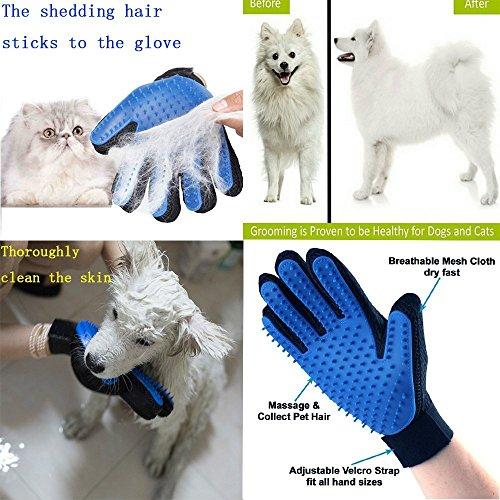 TINDERALA 2Stk. Profi Fellpflege-Handschuh Bürste Haustier Massagehandschuh für Pferde Hunde Katzen Entspannte Fellpflege Striegel Bürsten Pflegenbürste Fellwechsel Pferdebürste Putzhandschuhe (Blue) - 4