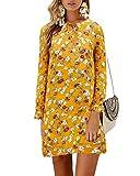 YOINS Vestido de mujer largo hasta la rodilla, con flores, blusa, manga larga, sexy, cuello redondo, elegante vestido de invierno para mujer con cinturón amarillo XL