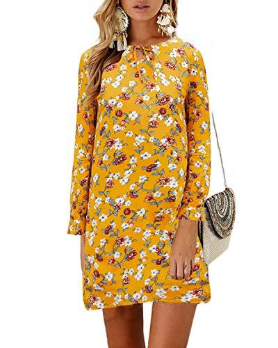 YOINS Kleider Damen Knielang Blumen Blusenkleider Langarm Sexy Rundhals Shirtkleider Elegante Winterkleid Damen mit Gürtel Gelb L