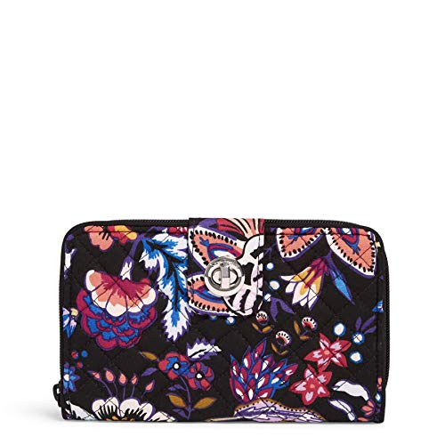 Vera Bradley Signature Cotton Turnlock Wallet with RFID Protection, Foxwood
