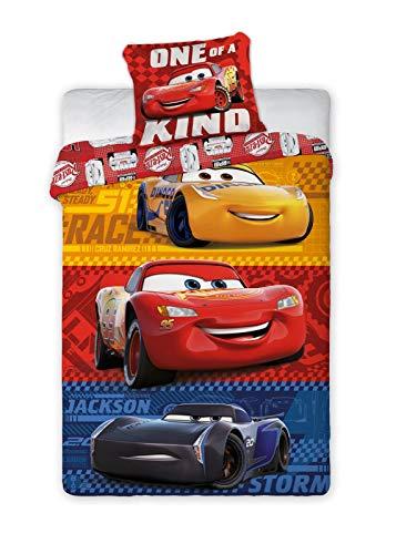 BrandMac ApS Disney Cars 3 Baby-Bettwäsche-Set 2-teilig 100% Baumwolle Bettbezug 100x135 Kissenbezug 40x60 Klein-Kinderbettwäsche Auto Lightning McQueen