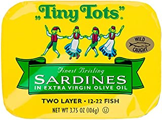 King Oscar Wild Caught Brisling Sardines Tiny Tots Extra Virgin Olive Oil, 3.75 Ounce (Pack of 12)
