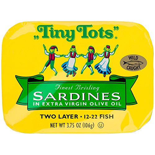 King Oscar Wild Caught Brisling Sardines Tiny Tots Extra Virgin Olive Oil  3.75 Ounce (Pack of 12)
