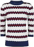 Voodoo Vixen Emma Sweater Mujer Jersey de Punto Blanco/Rojo/Azul L, 70% Viscosa, 30% nilon, Regular