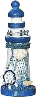 winnerruby Faro di Legno Forma Ocean Lighthouse 25CM Ornamenti in Stile mediterraneo Mare Tema Intagliato Artigianato Decorazioni per la casa Torre di avvistamento