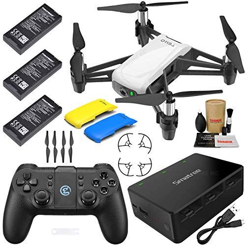Tello Drone Quadcopter Executive Plus Combo with 3 Batteries, GameSir Remote Controller, Portable Charging Station, Yellow & Blue Snap-On Covers and More