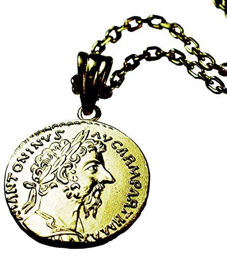 Luz azul シルバー925 コインネックレス 18金コーティング ローマ マルクス=アウレリウス=アントニヌス レプリカコイン (40)