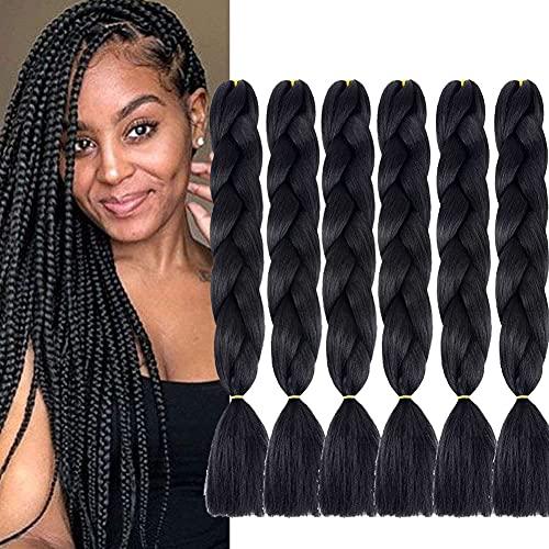 6 Packs Jumbo Flechten Haarverlängerungen (Black) Kunsthaar Ombre Zöpfe Haarverlängerungen Jumbo Braiding Haar for Crochet Box Zöpfe 100 g/pcs 24 inch (60 cm)
