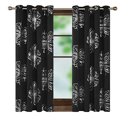 Deconovo Foil Print Flower Design Blackout Curtains Room Darkening Thermal Insulated Sun Blocking Grommet Window Draperies for Short Window Black 52W x 45L Inch 1 Pair