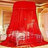 ASDFGH Cifrado Cúpula Princesa Mosquitera Cama con Dosel, Cordón Colgando Mosquiteros para Cama Dosel Premium Abertura Grande Hogar y Viaje-Rojo 200x200cm(79x79inch)