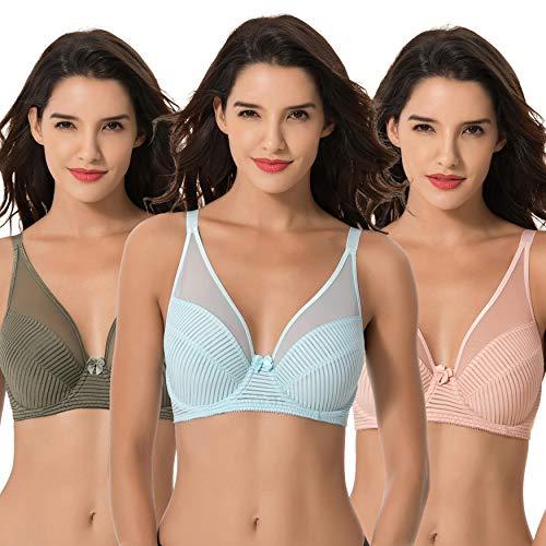 Curve Muse Women's Plus Size Minimizer Unlined Underwire Full Coverage Bra-3PK-GREEN,Pink,LT BLUE-44DDDD
