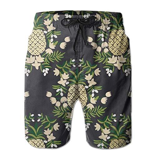 LREFON Pantalones Cortos de Playa de Secado rápido para Hombres Forro de Malla de piña de Dibujos Animados Troncos de Tabla de natación para Surf con Tasche 2XL