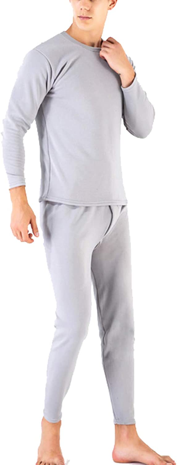 Seaoeey Men's Thermal Underwear Set Long Trousers Suit Middle and Old Aged Warm Underwear Extreme Cold Winter