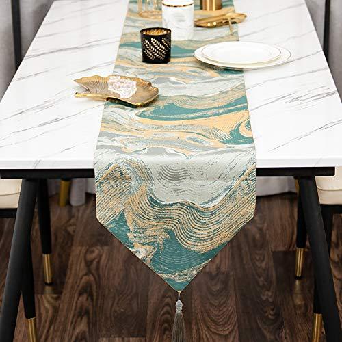 QXbecky Tischläufer moderne leichte Luxus-Stil Band chinesischen Stil Couchtisch Tischdecke Stoff klassische Home Tischläufer 33x210cm