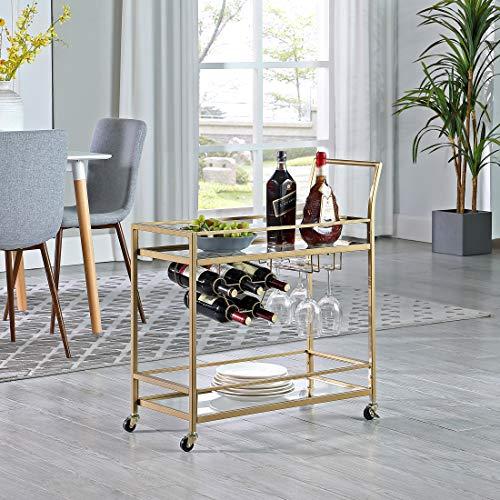 FirsTime & Co. Gold Francesca Bar Cart, diseño Americano, Oro, 76,2 x 33 x 82,5 cm, 76,2 cm, Oro y Vidrio (70286)
