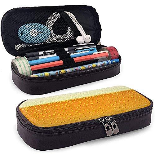 Helles Bier mit Schaum Leder Federmäppchen Tasche mit Reißverschluss niedlichen Stift Federmäppchen Box