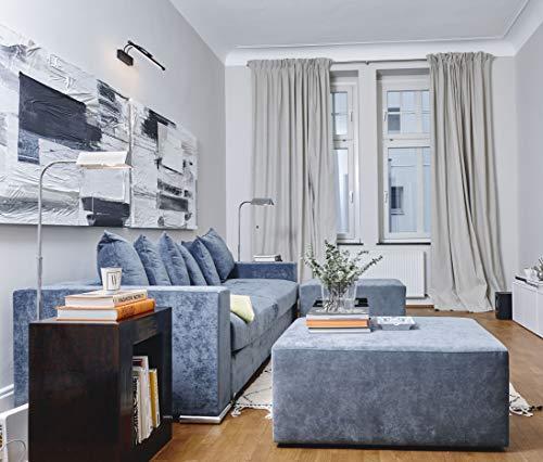 Amaris Elements | Hocker 'Joe' Samt XL eckig 100x70xH45cm lang blau grau Sitzbank Polsterhocker Pouf