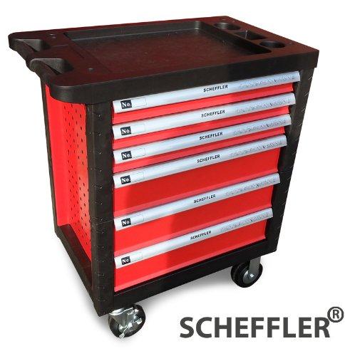 SCHEFFLER Profi Werkstattwagen mit Werkzeug , Schloss , Arbeitsplatte , Werkbank , Abschließbare Schubladen , Ratschen Ringschlüssel