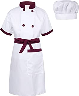 Kids Boys Girls 3 Pieces Chef Costume Cooking Baking Dress Up Kitchen Pretend Clothes with Apron Hat Set