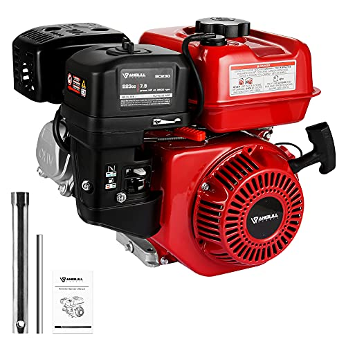 Anbull 7.5 HP 223cc Recoil Start Gas Engine Horizontal Shaft 3/4' x 2.43' Go Kart Gas Engine for Log Splitter Single Cylinder 4-Stroke Gas Engine Forced by Cooling OHV Motor EPA Approved
