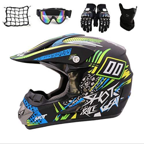 SYANO Caschi Downhill Casco BMX Caschi per Bici da Corsa Casco Cross Bambino, caschi da moto con occhiali più maschera per il viso più guanti, adatto per adulti e bambini (S)