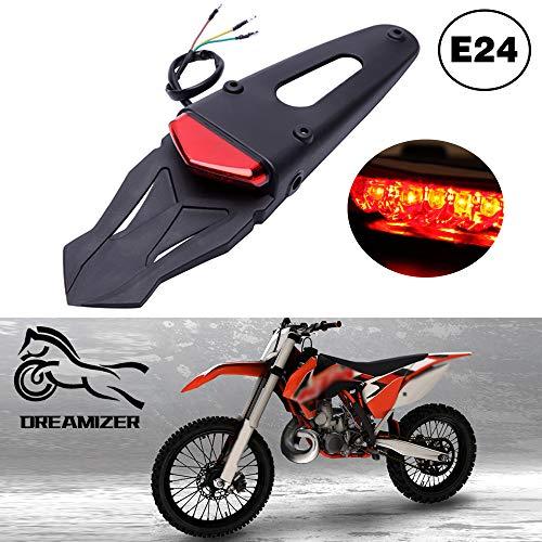 DREAMIZER Motorrad Dirt Bike Fender Rücklicht, Motorrad Motocross LED Bremsleuchte Hinten mit Halterung für Off-Road SMR 690 CR EXC WRF 250 450 125SX XR DRZ KLX KMX WR125